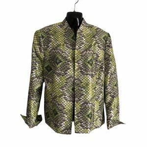 KASPER silk jacket in lime green snake print sz16